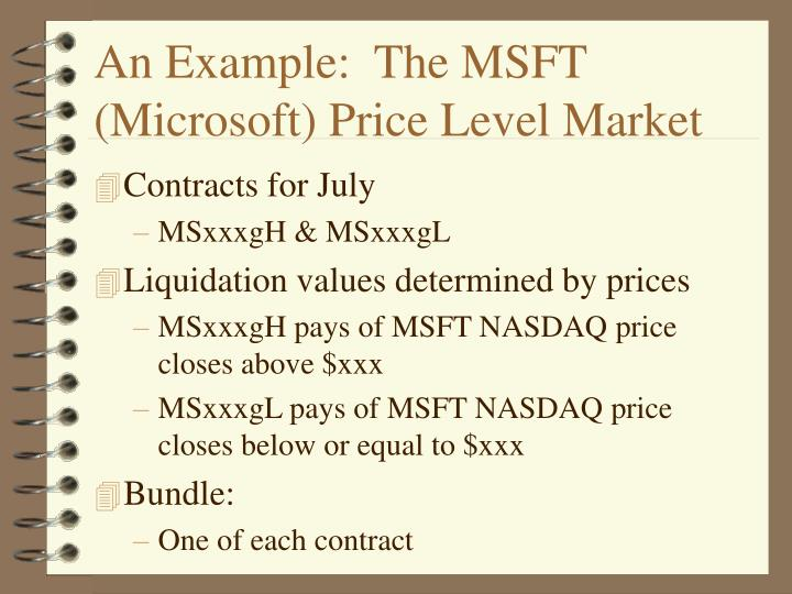 An Example:  The MSFT (Microsoft) Price Level Market