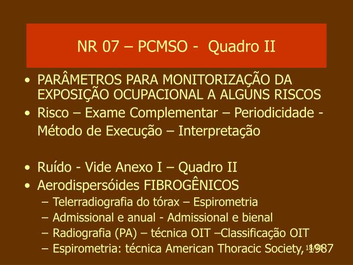 NR 07 – PCMSO -  Quadro II
