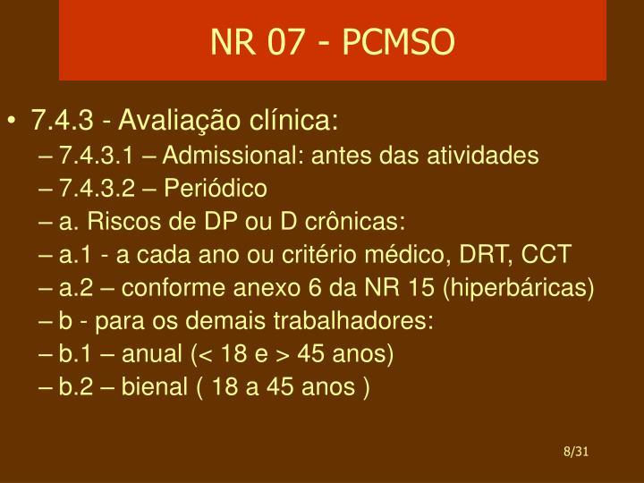 NR 07 - PCMSO