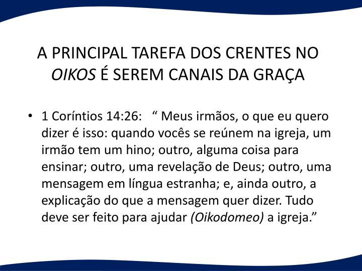 A PRINCIPAL TAREFA DOS CRENTES NO