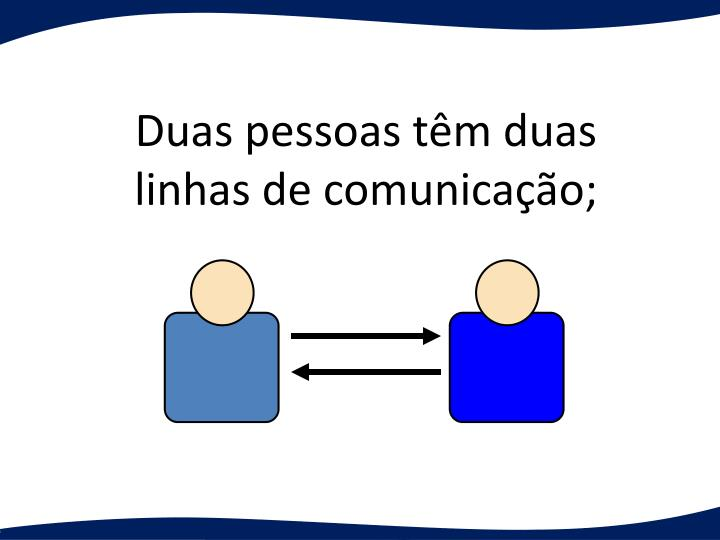 Duas pessoas tm duas linhas de comunicao;