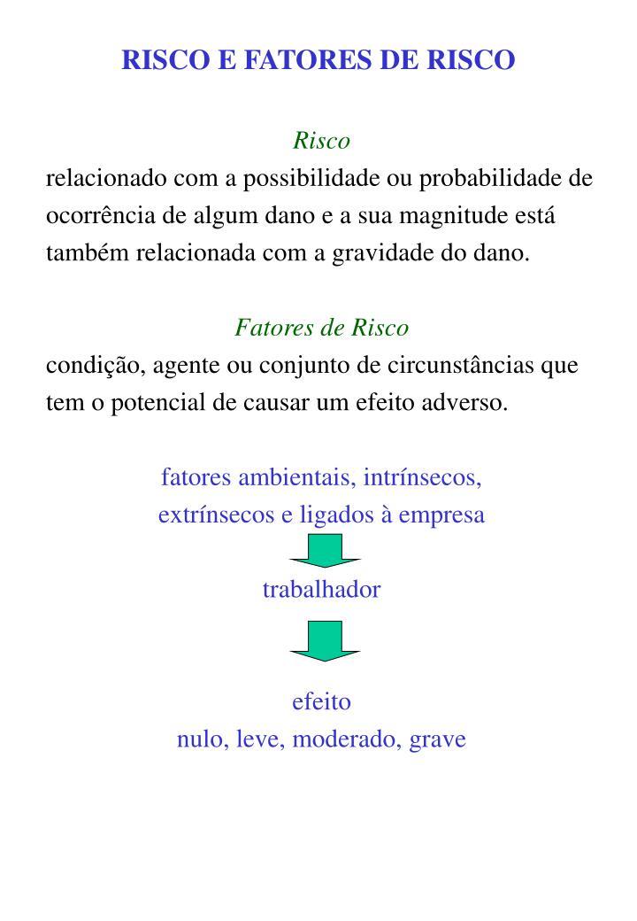 RISCO E FATORES DE RISCO