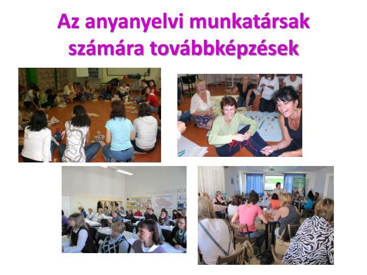Az anyanyelvi munkatársak számára továbbképzések