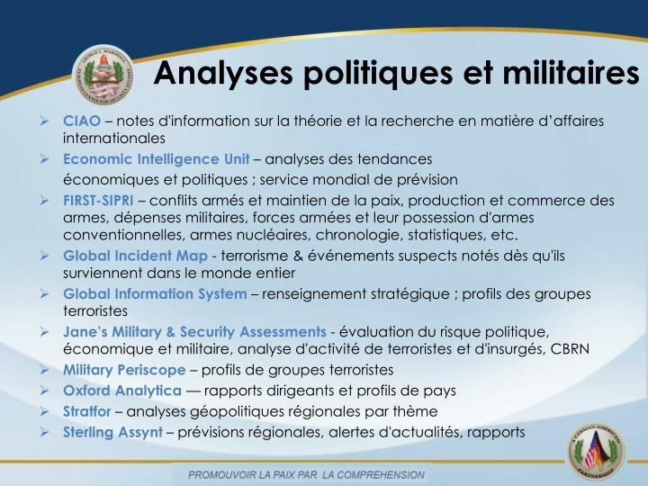 Analyses politiques et militaires