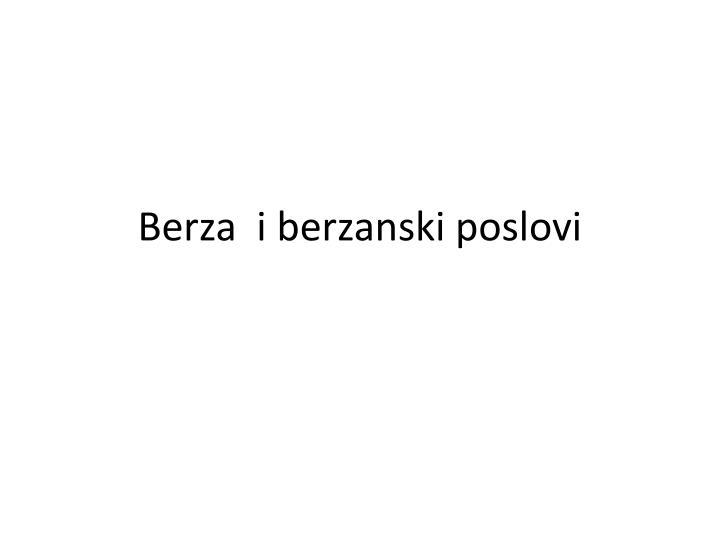 Berza  i berzanski poslovi