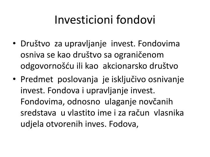 Investicioni fondovi