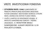 vrste investicionih fondova