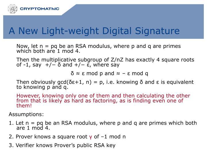 A New Light-weight Digital Signature