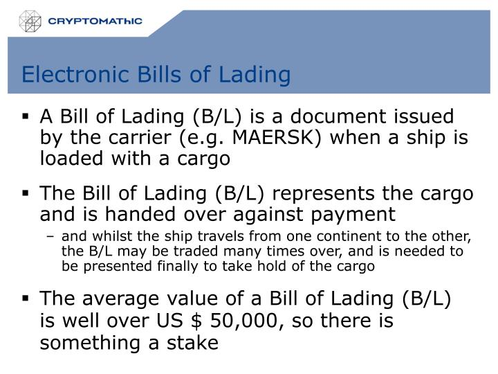 Electronic Bills of Lading