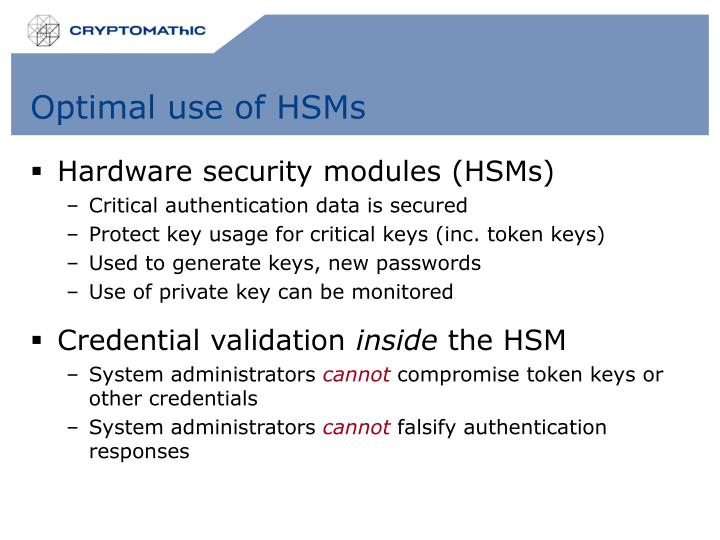 Optimal use of HSMs