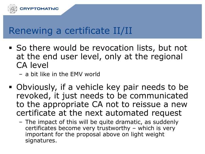 Renewing a certificate II/II