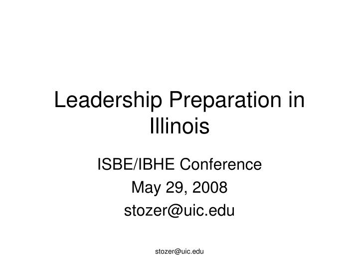 Leadership preparation in illinois