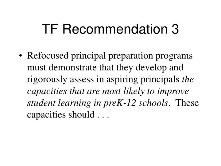 TF Recommendation 3