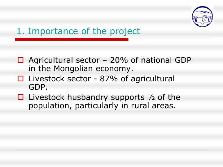 Agricultural sector – 20% of national GDP in the Mongolian economy.
