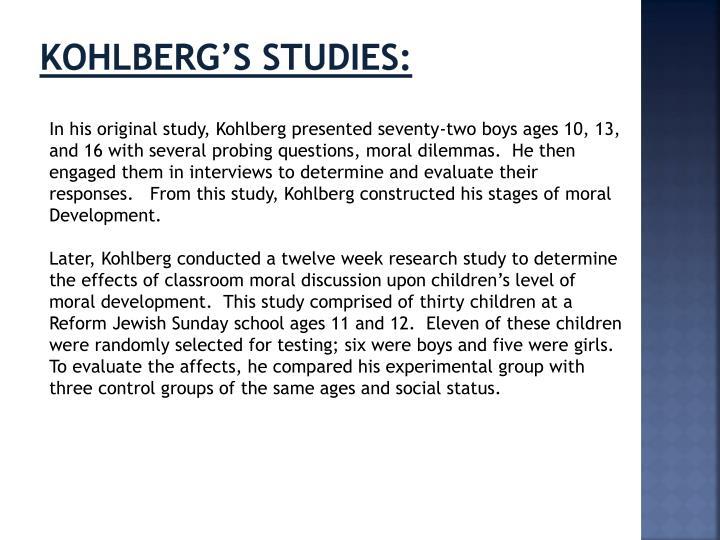 Kohlberg's studies: