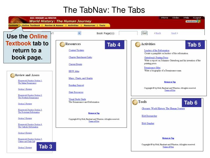 The TabNav: The Tabs