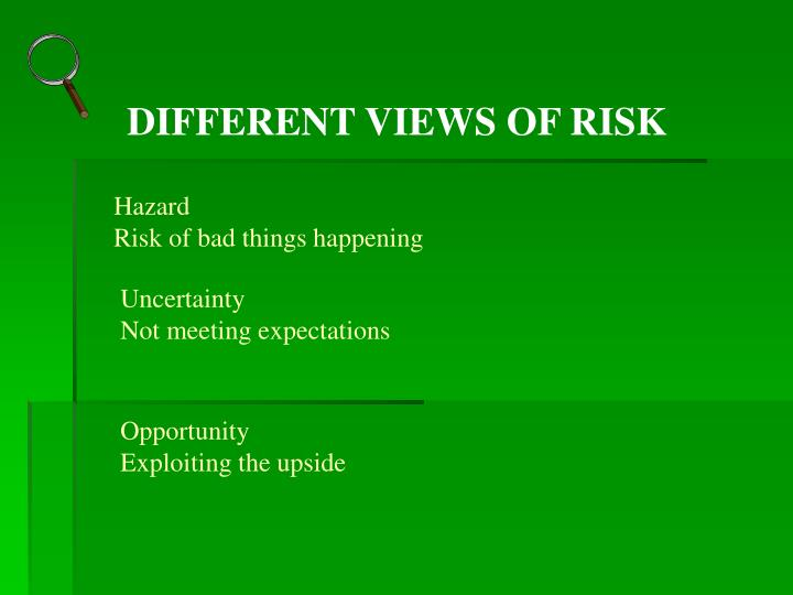 DIFFERENT VIEWS OF RISK