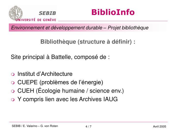 Bibliothèque (structure à définir) :