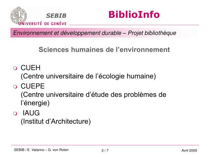 Sciences humaines de l'environnement