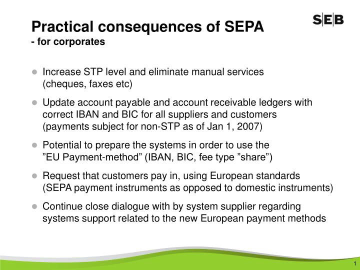 Practical consequences of sepa for corporates