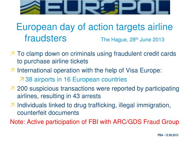 European day of action targets airline fraudsters