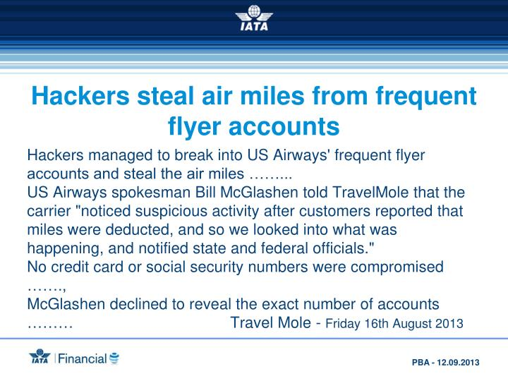 Hackers steal air miles from frequent flyer accounts