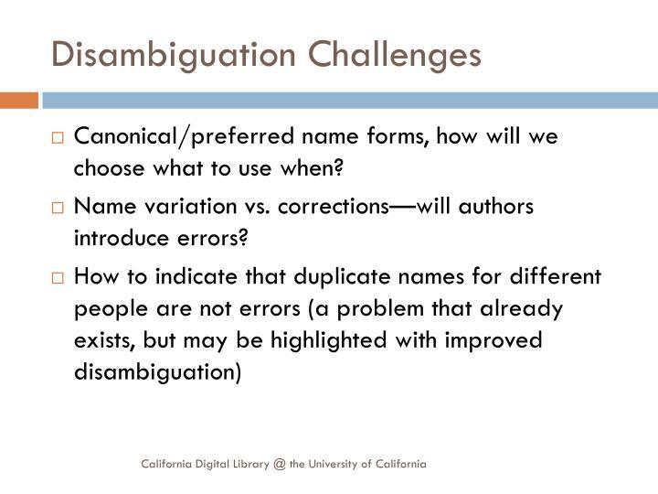 Disambiguation Challenges