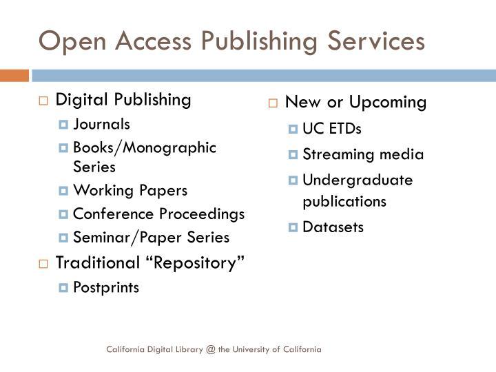 Open Access Publishing Services