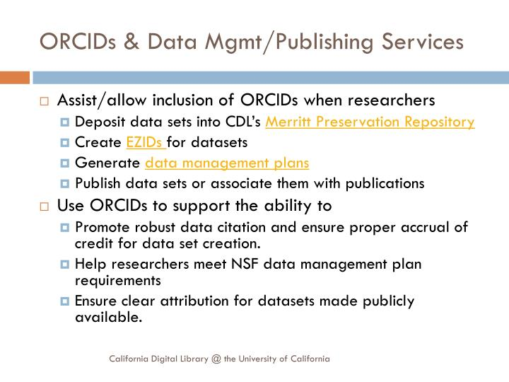 ORCIDs & Data Mgmt/Publishing Services
