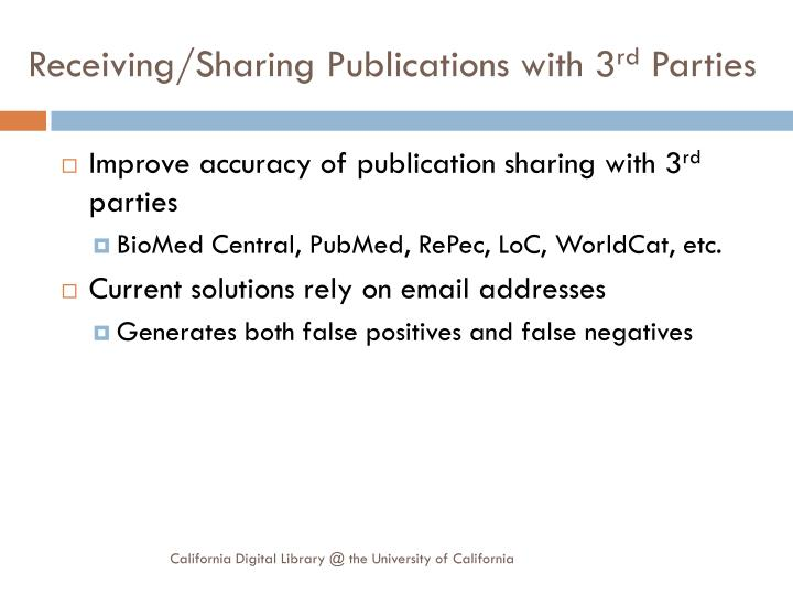 Receiving/Sharing Publications with 3