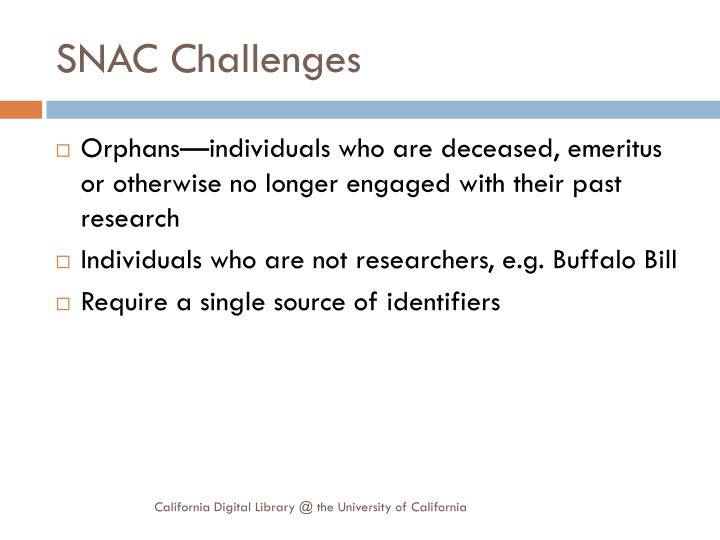 SNAC Challenges