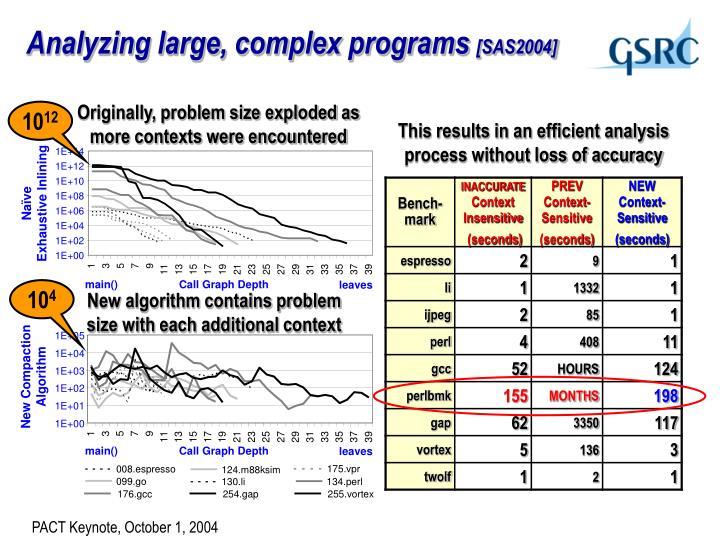 Analyzing large, complex programs