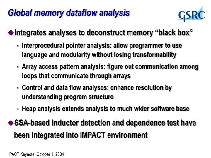 Global memory dataflow analysis