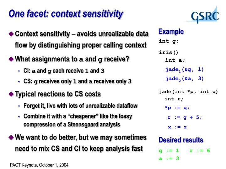 One facet: context sensitivity