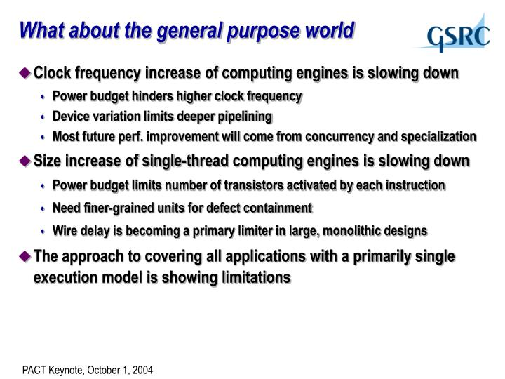 What about the general purpose world