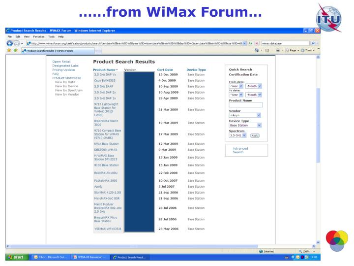 ……from WiMax Forum…