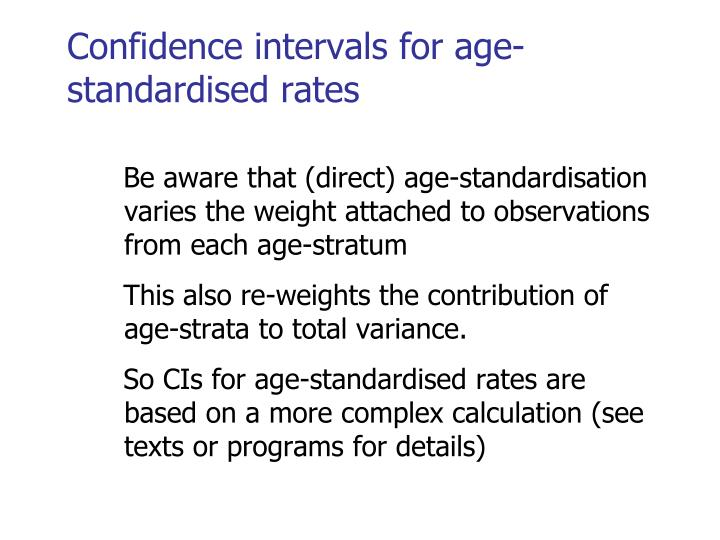Confidence intervals for age-standardised rates
