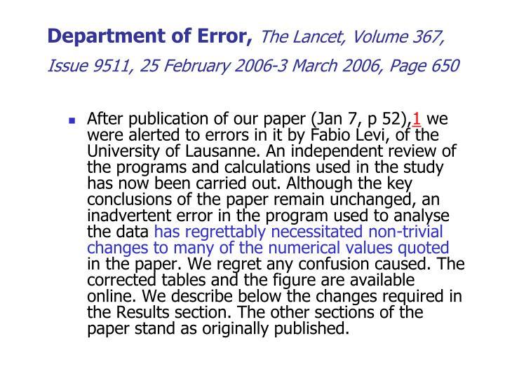 Department of Error,