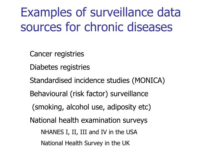 Examples of surveillance data sources for chronic diseases