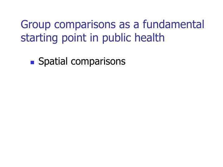 Group comparisons as a fundamental starting point in public health