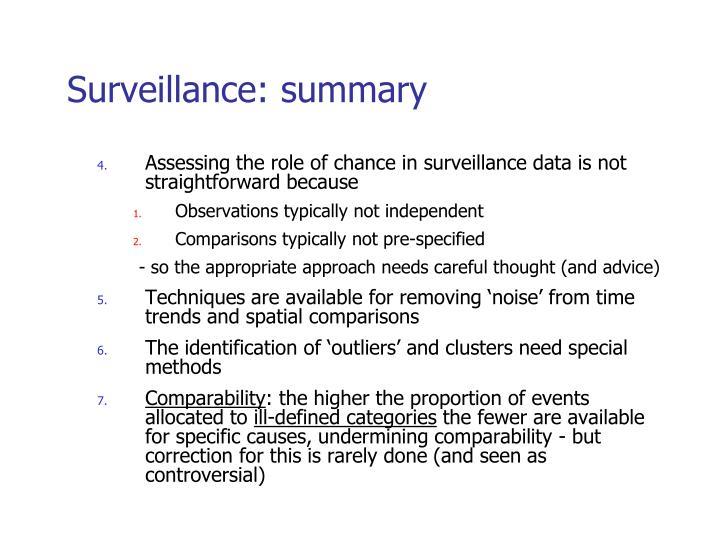Surveillance: summary