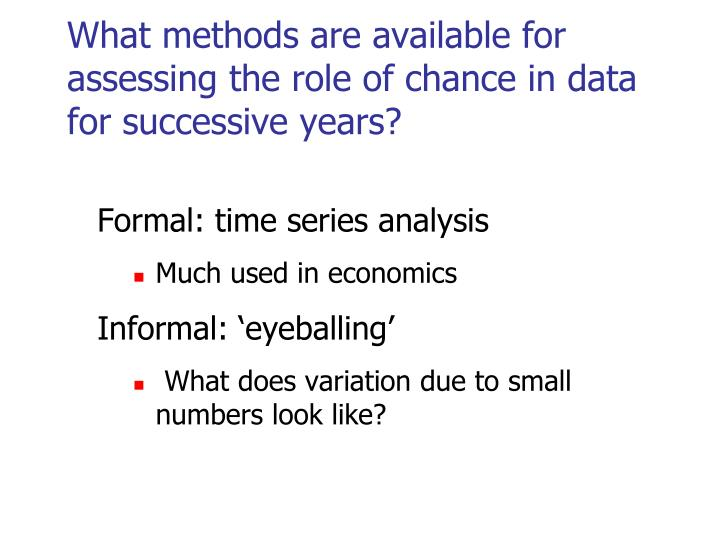 What methods are available for assessing the role of chance in data for successive years?