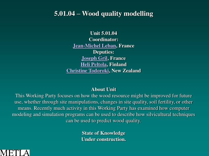 5.01.04 – Wood quality modelling