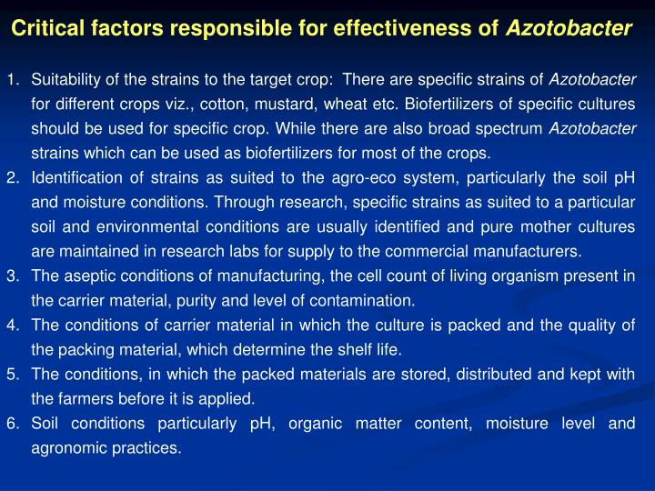 Critical factors responsible for effectiveness