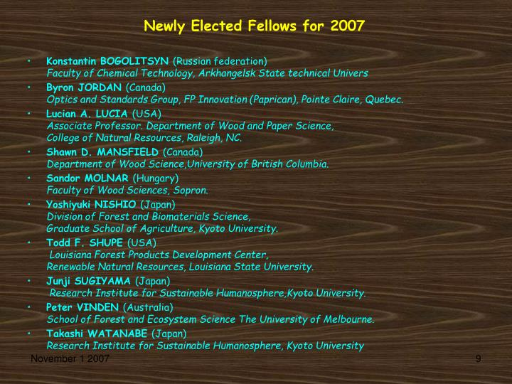 Newly Elected Fellows for 2007