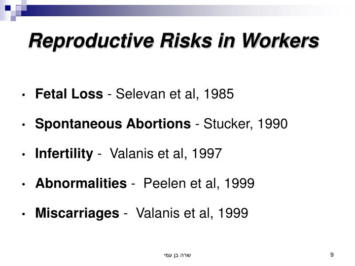 Reproductive Risks in Workers