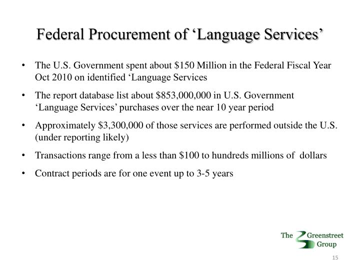 Federal Procurement of 'Language Services'