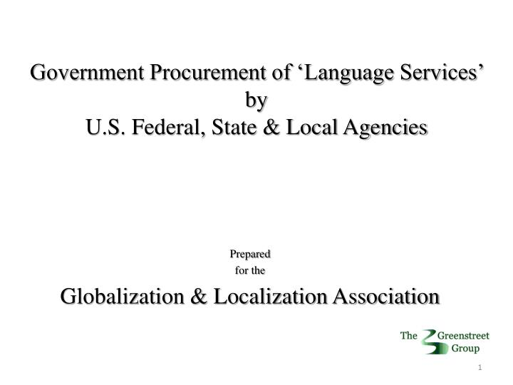 Government Procurement of 'Language Services'