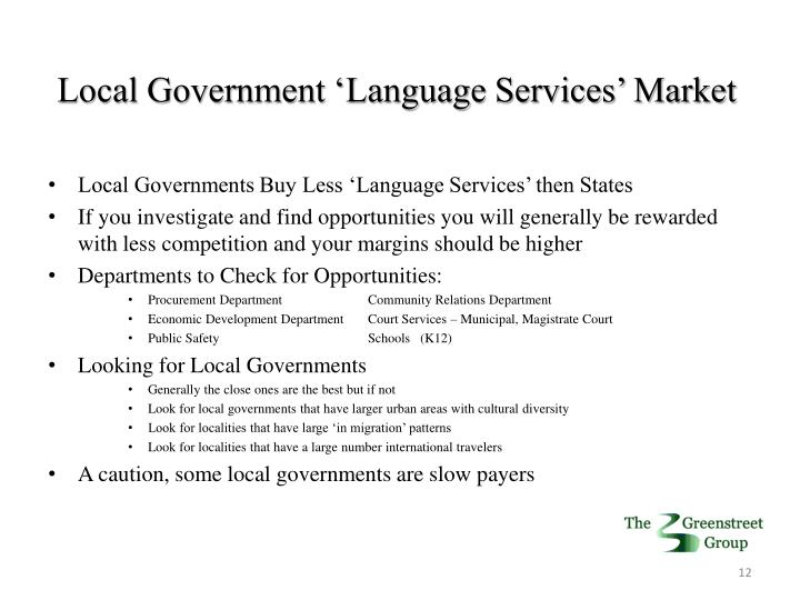 Local Government 'Language Services' Market