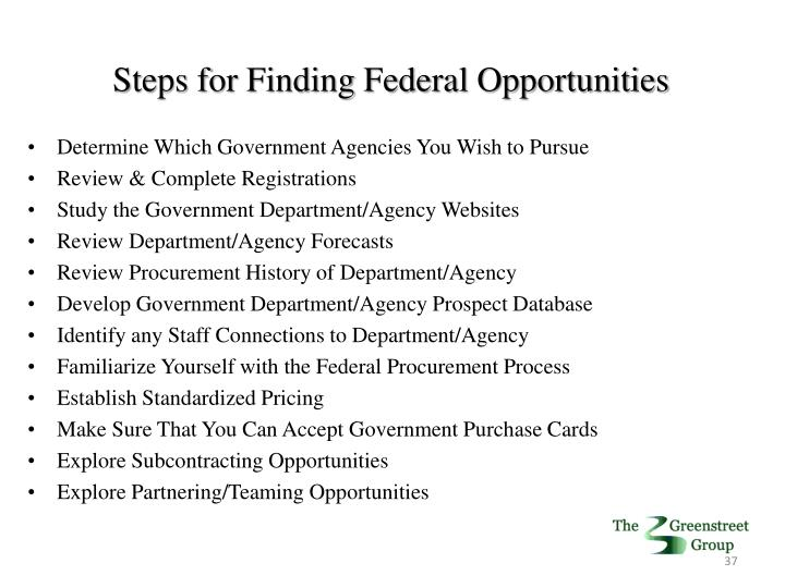 Steps for Finding Federal Opportunities